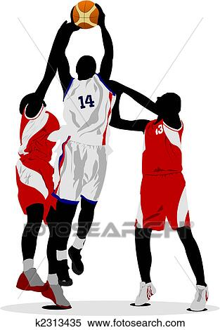 clipart of basketball players vector illustration k2313435 search rh fotosearch com basketball player clipart basketball player clipart black and white
