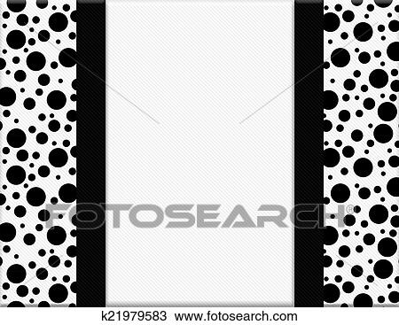 Stock Photo of Black and White Polka Dot Frame with Ribbon ...