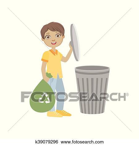 Boy Taking Out Recycling Garbage Bag Stock Vector - Illustration of  outdoors, recycle: 75335903