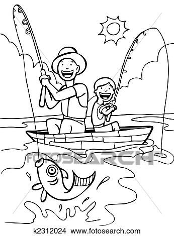 Father Son Fishing Trip Line Art: Clipart | k2312024 ...