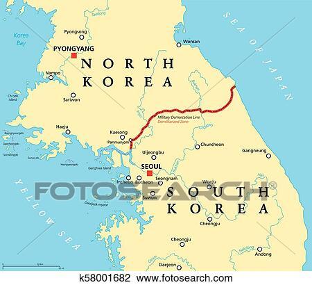 Korean peninsula, demilitarized zone, political map Clipart ...
