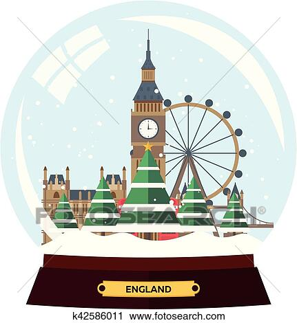clipart merry christmas and happy new year snow globe vector flat illustration