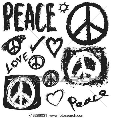 Retro Desenho De Paz Amor E Musica Vetorial Projete