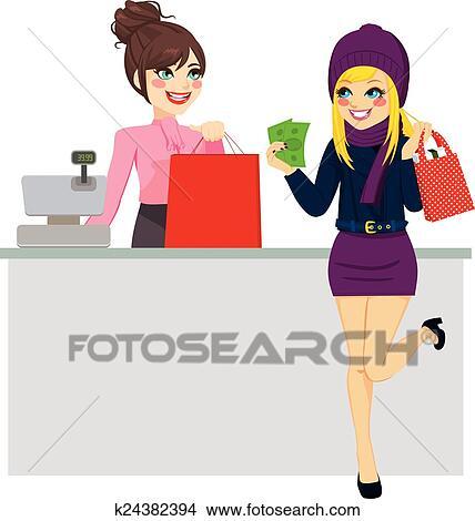be163fda9bcd Shopping donna, pagamento, con, contanti Clipart | k24382394 ...