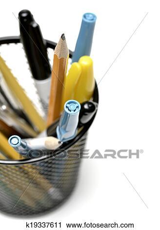 Stock Fotografie - stift, bleistift behälter, becher, für, buero ...