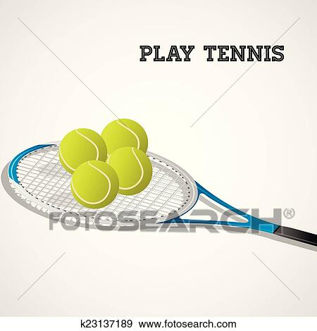 Clip Art Of Tennis Rackets And Balls K23137189 Search Clipart