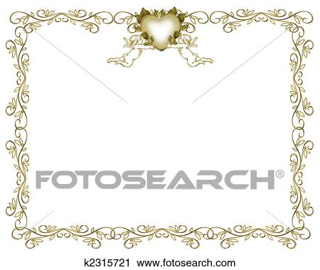 Clipart Of Wedding Invitation Gold Border Angels K2315721 Search