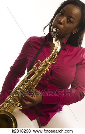Black woman sax
