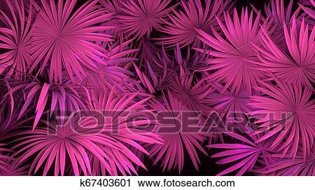 3d render of neon palm leaves on black background  Banner design   Retrowave, synthwave, vaporwave illustration  Clip Art