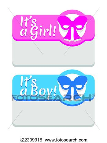 Clipart Of Baby Shower And Newborn Announcement Card Template