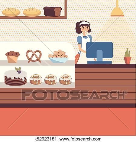 Dessin Boulangerie clipart - boulangerie, magasin, intérieur, à, verre, vitrine
