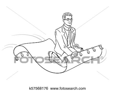 Businessman on magic carpet coloring vector Clip Art ...