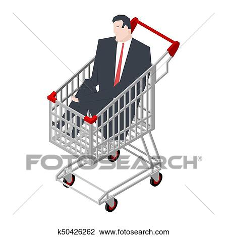 Businessman Sitting In Shopping Cart Boss Is Riding In Supermarket Trolley Vector Illustration Clipart K50426262 Fotosearch