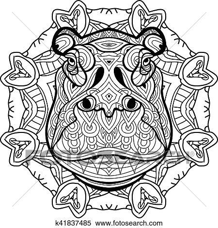 Clipart - colorido, antistress., fuerte, hipopótamo, es, dibujado ...
