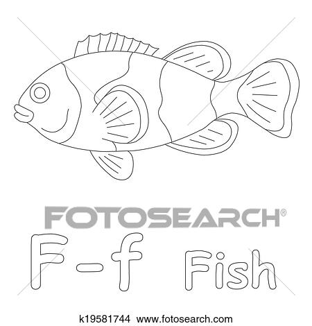 Drawings Of F For Fish Coloring Page K19581744 Search Clip Art - F-is-for-fish-coloring-page