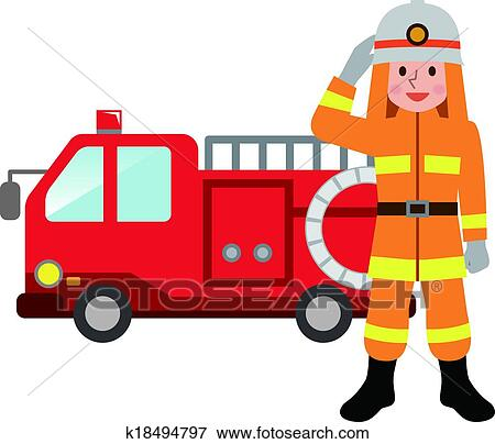 clip art of fire truck and firefighters k18494797 search clipart