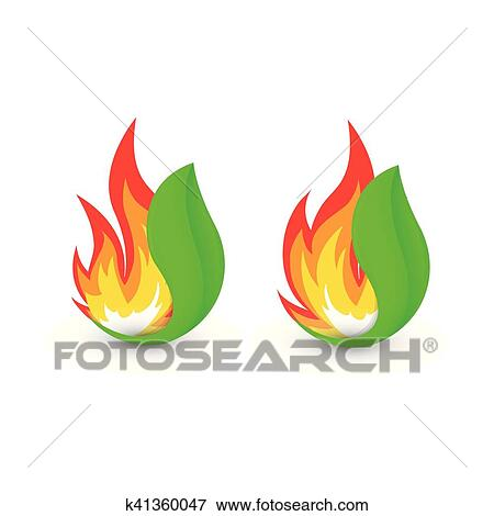 Isolated abstract fire logo  Flame in leaf logotype  Bushfire icon  Heat  sign  Wildfire symbol  Vector illustration  Clip Art