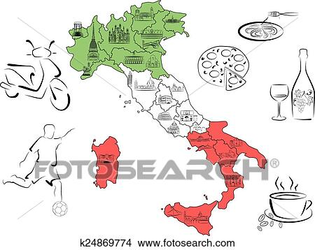Map Of Italy With Sights By Regions Clipart K24869774 Fotosearch