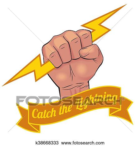 Realistic Hand Holding Lightning Bolt Clipart K38668333 Fotosearch