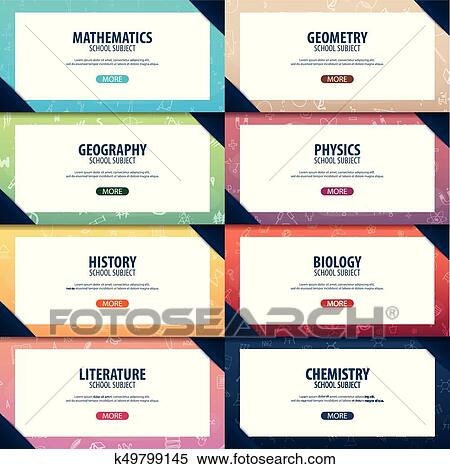 Set Of Banners School Subjects Back To School Background Education Banner Clipart K49799145 Fotosearch