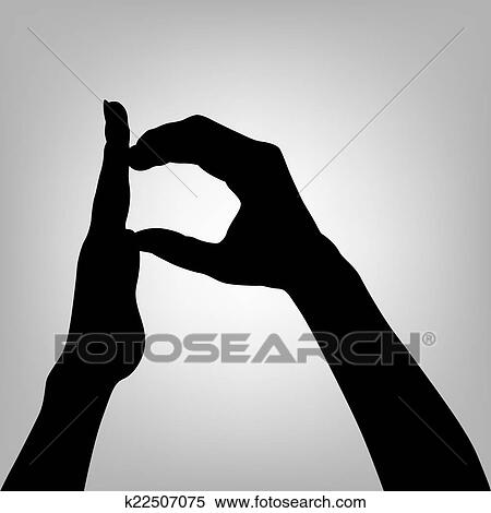 Clipart Of Silhouette Woman Hand Letter P K22507075 Search Clip