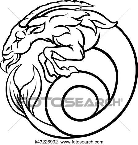 Clipart Of Zodiac Signs Capricorn K47226992 Search Clip Art