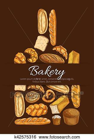 دكان بيع الخبز الملصق في تشكل بسبب ألواح القطع Clip Art K42575316 Fotosearch