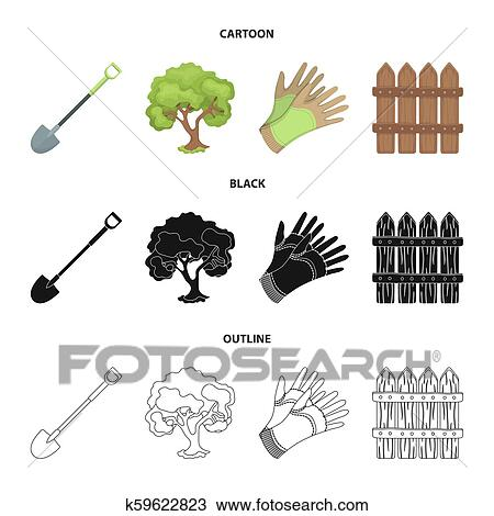 A shovel with a handle, a tree in the garden, gloves for working on a farm,  a wooden fence. Farm and gardening set collection icons in cartoon, black,