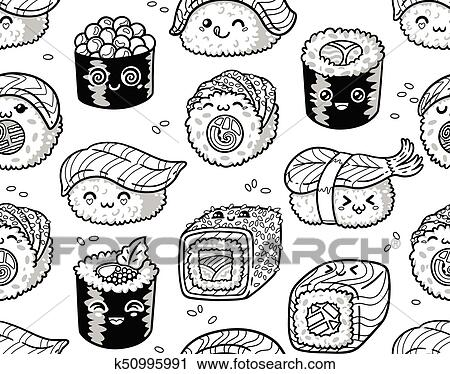 Black And White Sushi And Sashimi Seamless Pattern In Kawaii Style Clipart