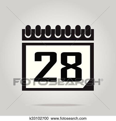 Illustration Calendrier.Calendar Icon Number 28 Vector Illustration Clipart