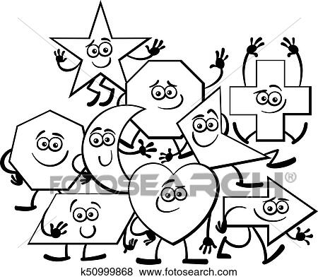 Clip Art of Cartoon Geometric Shapes coloring page k50999868 ...