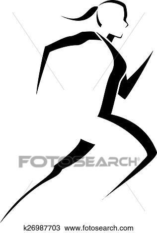clipart of female runner stylized k26987703 search clip art rh fotosearch com clipart running man clipart running