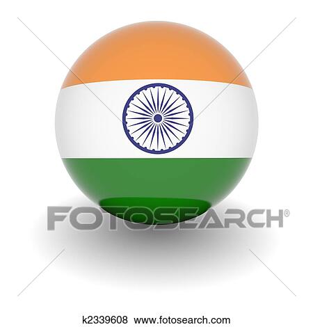 Stock Illustration Of High Resolution Ball With Flag Of India