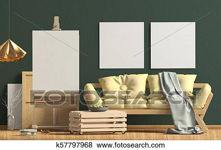 Modern interior design in Scandinavian style with sofa and easel. Mock up  poster. 3D illustration. Stock Illustration