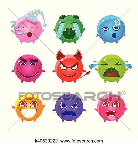 Rond Caracteres De Different Couleurs Emoji Ensemble Clipart