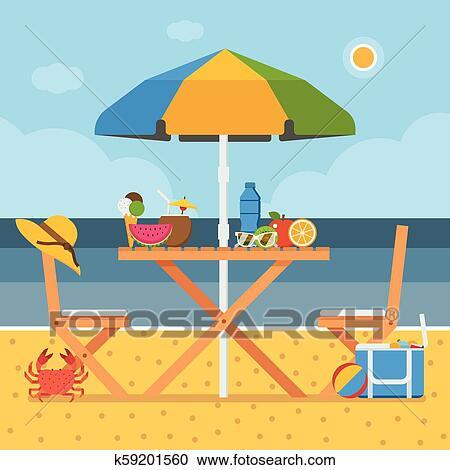 Summer Beach Picnic Table Clipart