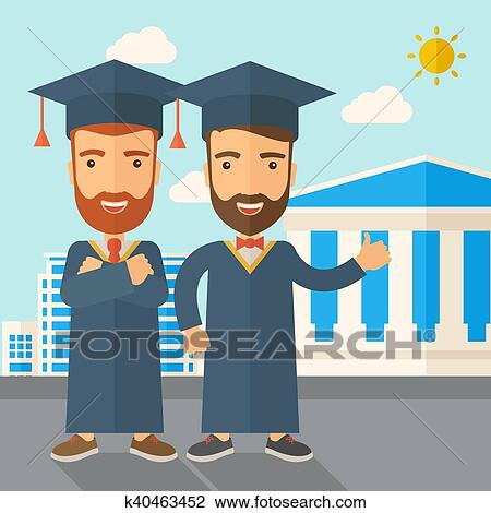 Two men wearing graduation cap  Drawing