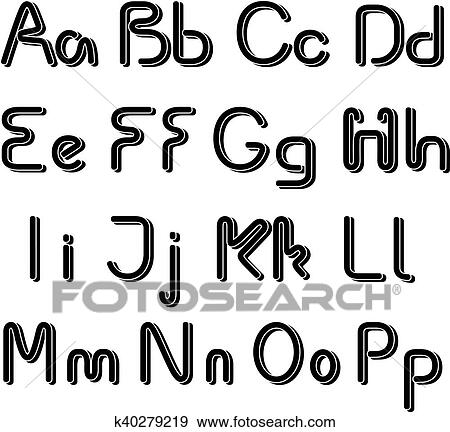 Alphabet Pictures For Each Letter Black And White.Vector 3d Black Font Alphabet Simple Capital And Small