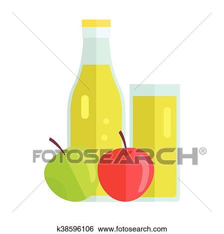 Apple Juice Concept Vector Illustration  Clip Art