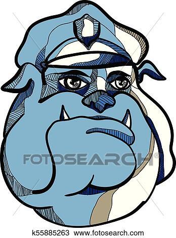 Clipart Of Bulldog Policeman Head Dwg K55885263 Search Clip Art