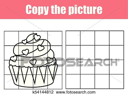 Grid copy worksheet. educational children game. Printable ...