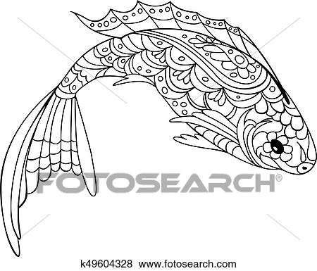 Clip Art - pez, zentangle, style., libro colorear, para, adulto, y ...