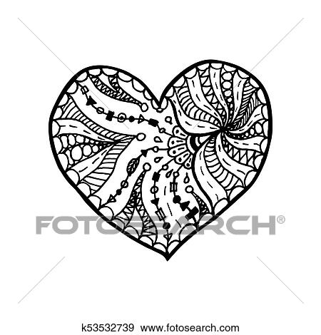 Coloring page flower heart St Valentine's day greeting card hand ... | 470x450