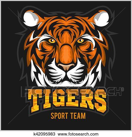 Vector tiger face sport emblem Clipart