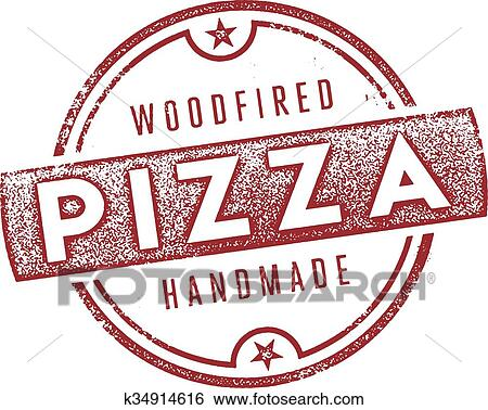 Clip Art Of Wood Fired Pizza Sign K34914616