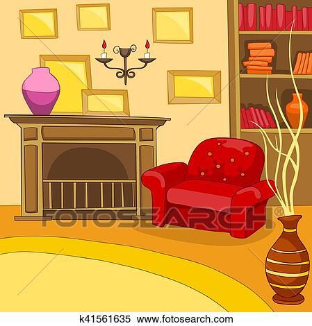 رسم كاريكتوري الخلفية بسبب خمر غرفة الجلوس باطني معرض الأشكال K41561635 Fotosearch