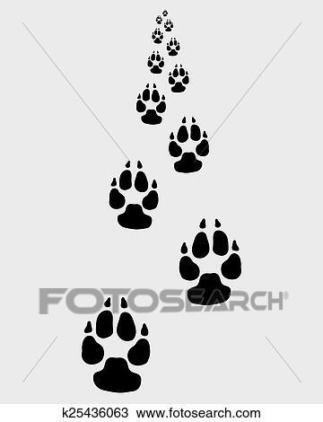 足跡 の 犬 クリップアート 切り張り イラスト 絵画 集 K Fotosearch