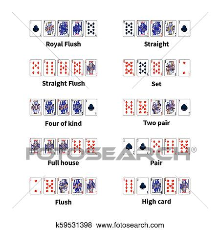 Big Set Of All Kinds Of Poker Cards Combination On White Clip Art K59531398 Fotosearch