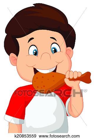 Vector Illustration Of Cartoon Boy Eating Fried Chicken