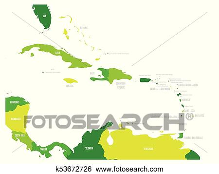 Central America and Caribbean states political map in four ...